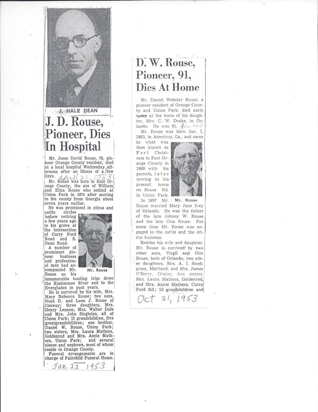 obit Jesse David Rouse and Daniel Webster Rouse